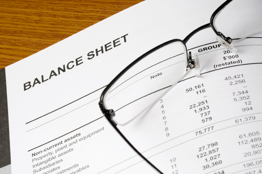 Balance sheet of a financial report with spectacles
