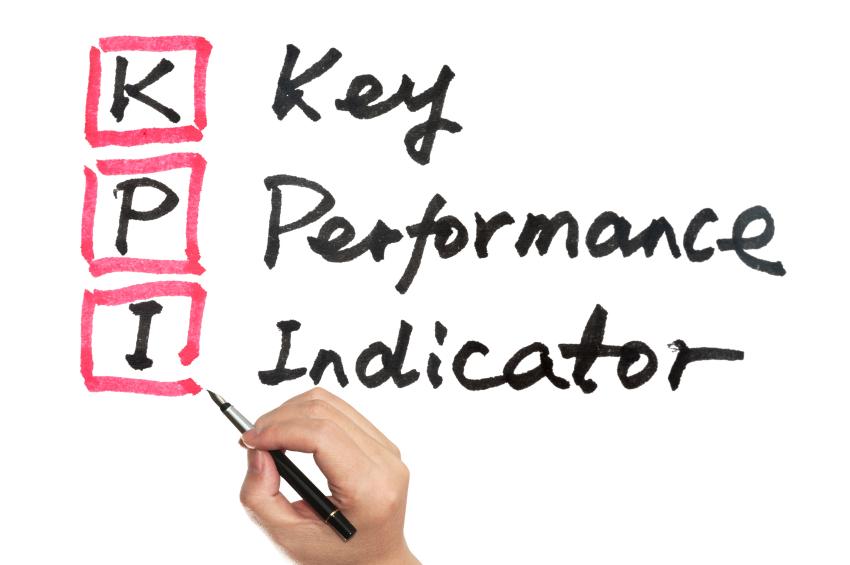 KPI - Key performance indicator words written on white board