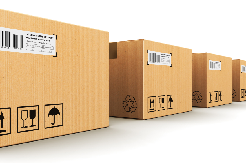Creative abstract shipping, logistics and retail parcel goods delivery commercial business concept: row of corrugated paper cardboard box packages isolated on white background