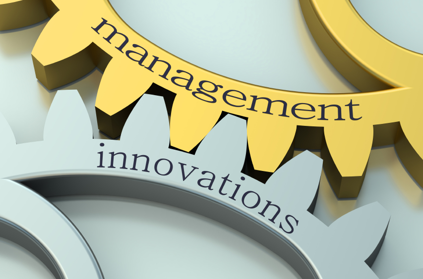 Management and Innovations concept on the gearwheels