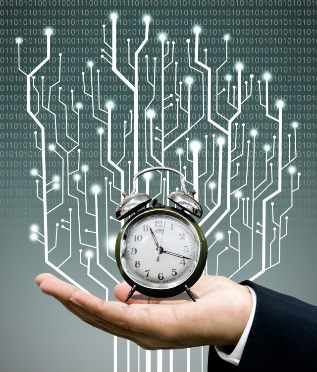 Time machine concept, Clock on hand with circuit board graphic background