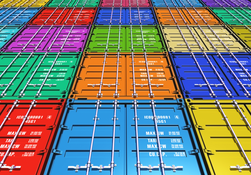 Creative abstract freight transportation, shipment and logistics business industry concept: background from group of color metal cargo containers