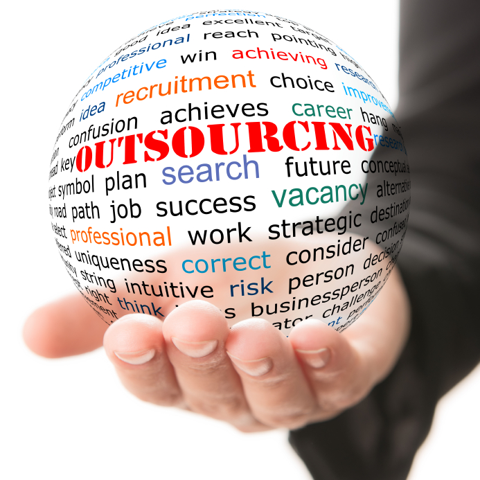 Hand take transparet ball with wordcloud and red inscription Outsourcing