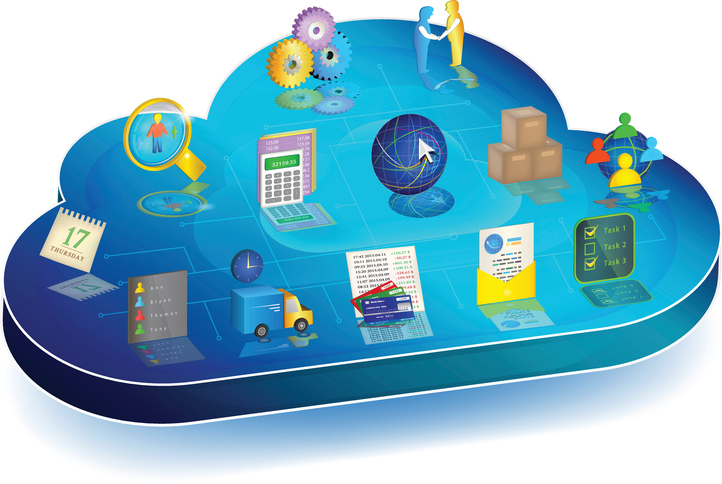 Blue 3d cloud with enterprise process management icons on it: Accounting, Inventory, Client Relationships, Electronic Document Interchange, Banking, Logistics, Scheduler, Personnel Management.