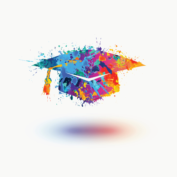 Mortar Board (Graduation Cap) vector watercolor icon