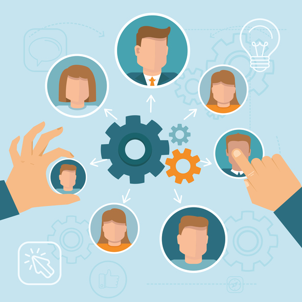 Vector human resource management concept in flat style