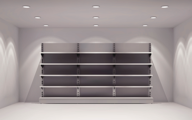 Realistic 3d store interior with empty shelves in lamp spotlights background vector illustration